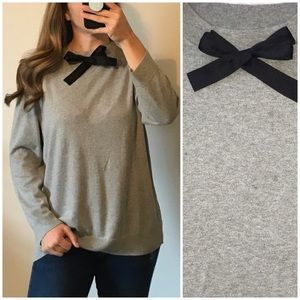 J. CREW Gray Cozy Bow Neck Pullover Sweater Large